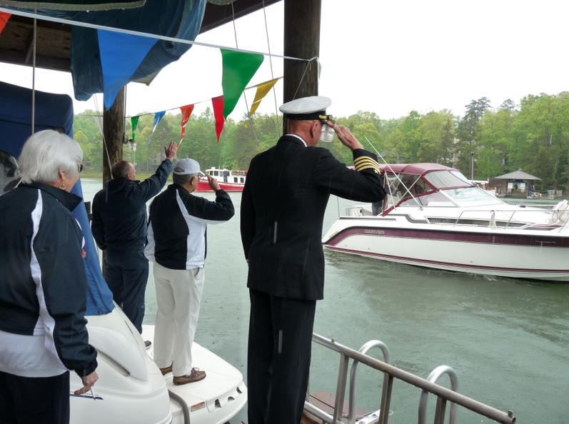 During the 2013 Blessing of the Fleet, Pastor Brian Truog from Christ Our Savior Lutheran Church gave the Blessing & Retired Captain Naval Officer Joe Solymossy saluted each vessel.